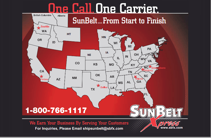 SunBelt Xpress Service Map